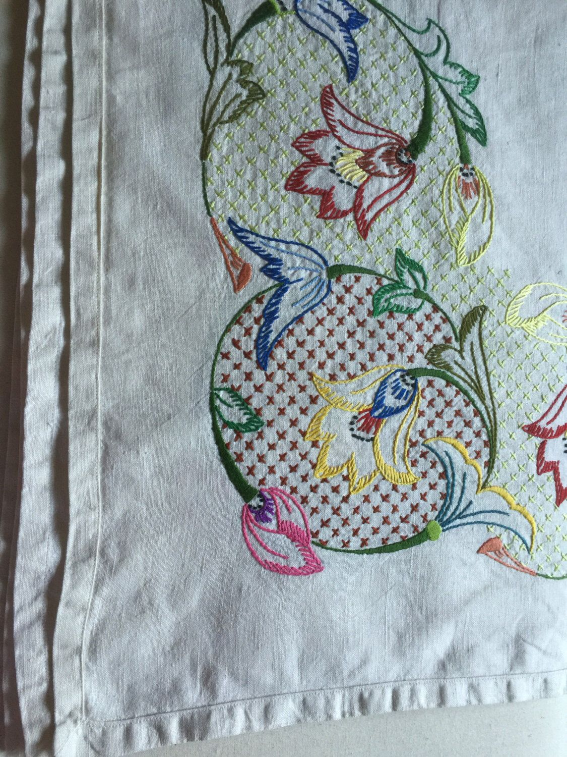 A personal favourite from my Etsy shop https://www.etsy.com/uk/listing/461274010/vintage-linen-tablecloth-hand