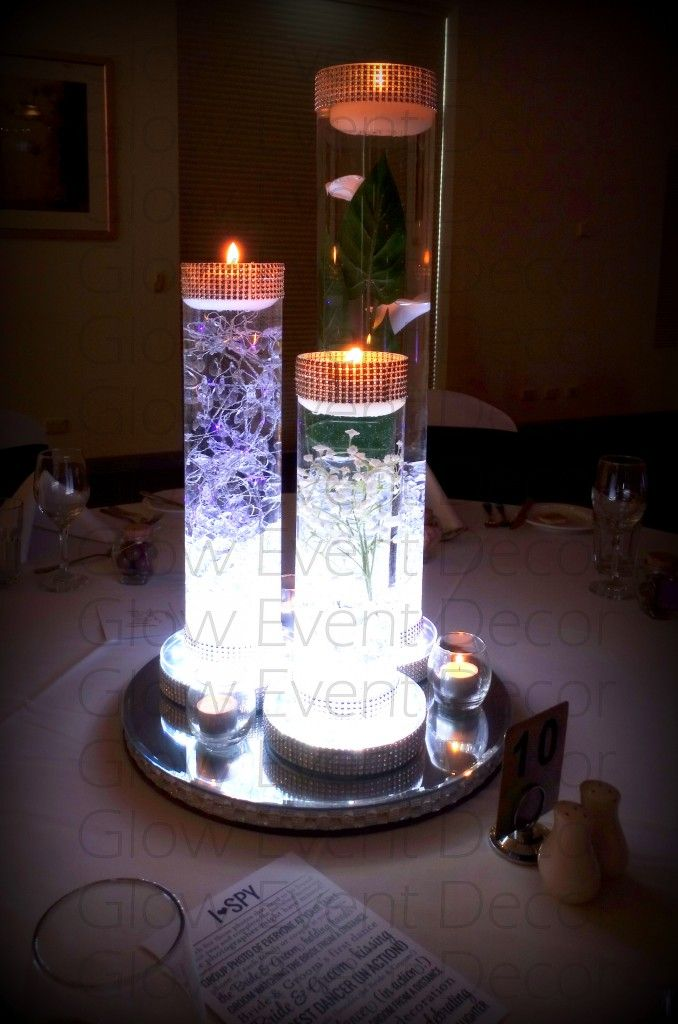 Led Cylinder Vase Trio With Led Light Base Centerpiece In 2019 Cylinder Vase Vase With