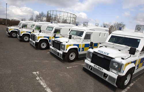 5d0dd76af8 Armoured vehicles from the Police Service of Northern Ireland are currently  making an unusual appearance on the streets of Greater Manchester.