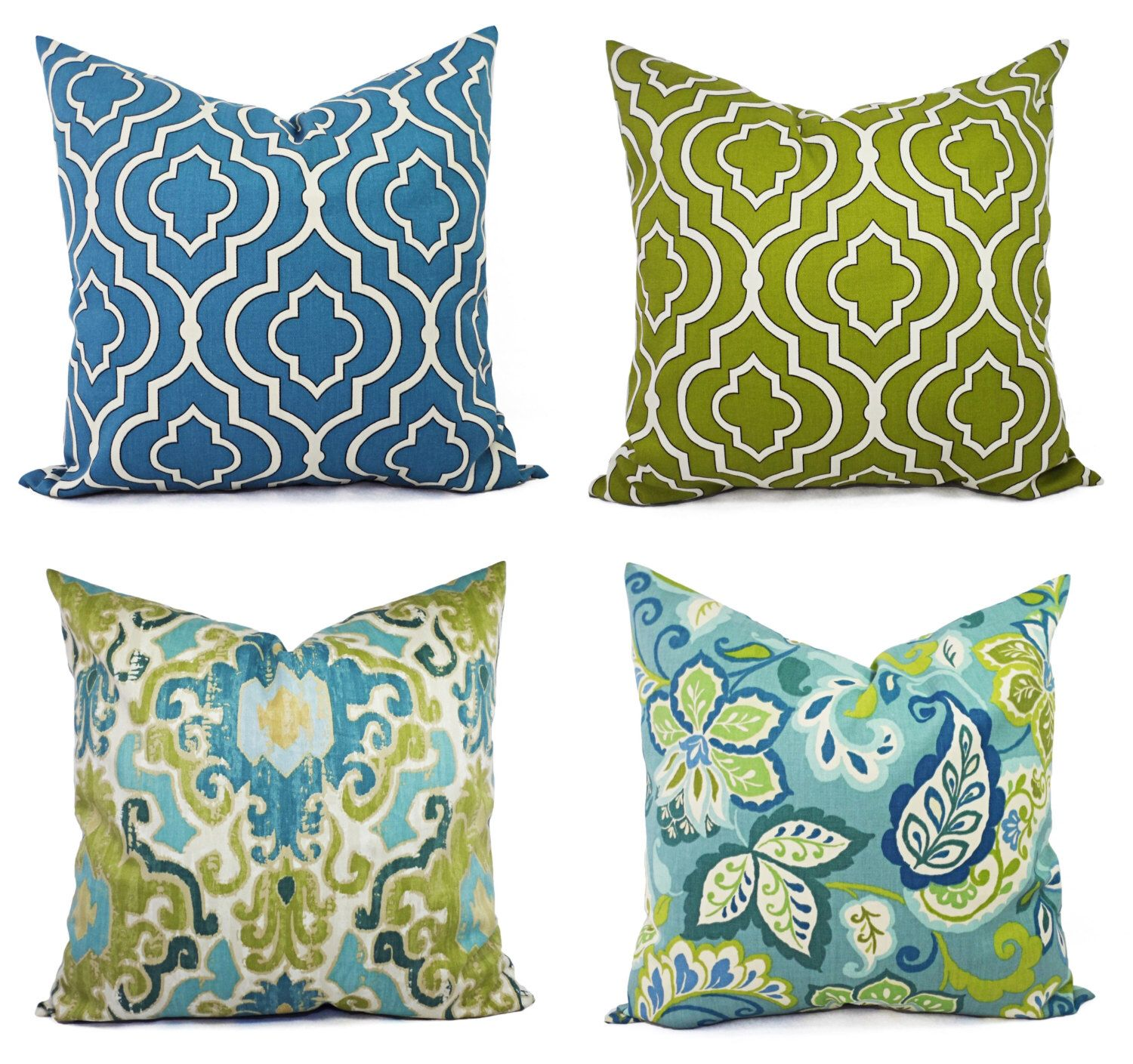 One Blue and Green Pillow Cover - Decorative Pillow Cover ...