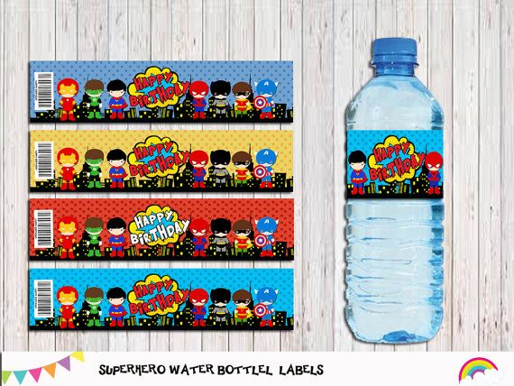 Superhero Water Bottle Label Printable Party By Rainbowsweetstudio