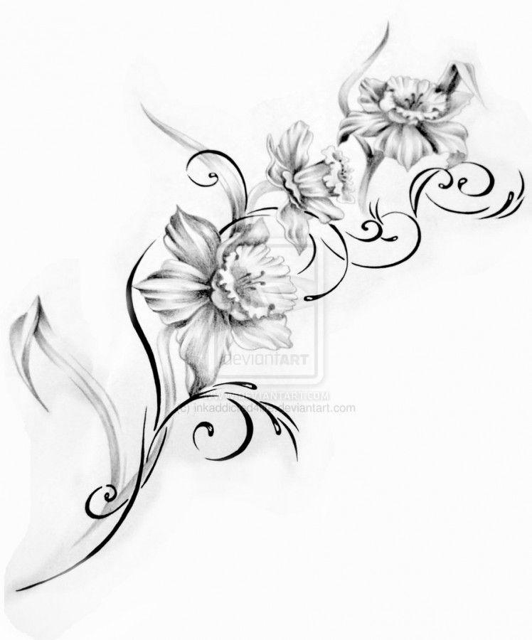 Http Tattoomagz Com Flower Designs For Tattoos Flower Designs For Tattoos Black Flower Narcissus Flower Tattoos Floral Tattoo Design Vine Tattoos