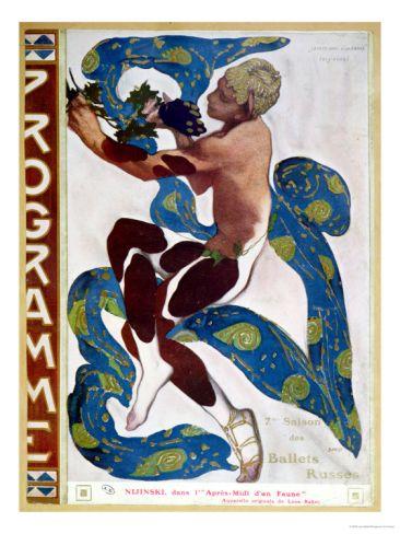 Nijinsky in /'L/'Apres-midi d/'un Faun/' design LEON BAKST Vintage Ballet Poster