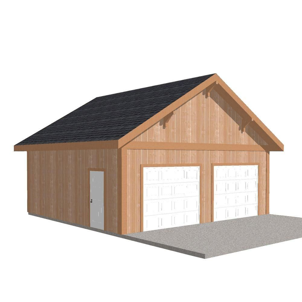 Workshop 26 Ft X 24 Ft Engineered Permit Ready Wood Garage Package Installation Not Included Garage Packages Garage Installation Garage Plans
