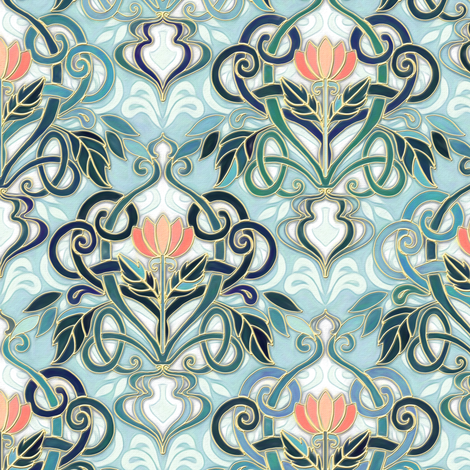 Inspired By Beautiful Art Nouveau Enamel Wallpaper Patterns And
