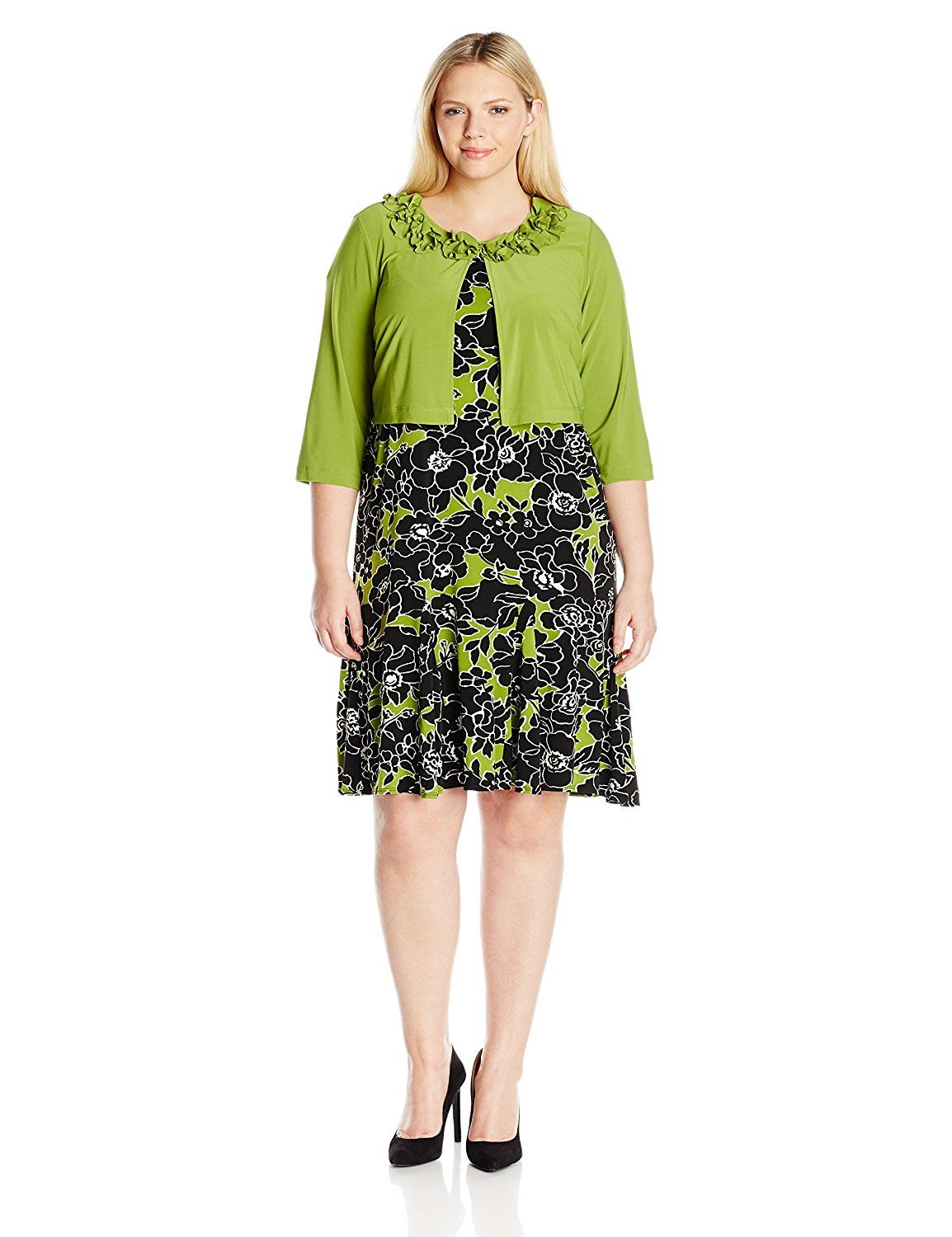 Danny and Nicole Women\'s Plus Size Floral Two Piece Ruffle Jacket ...