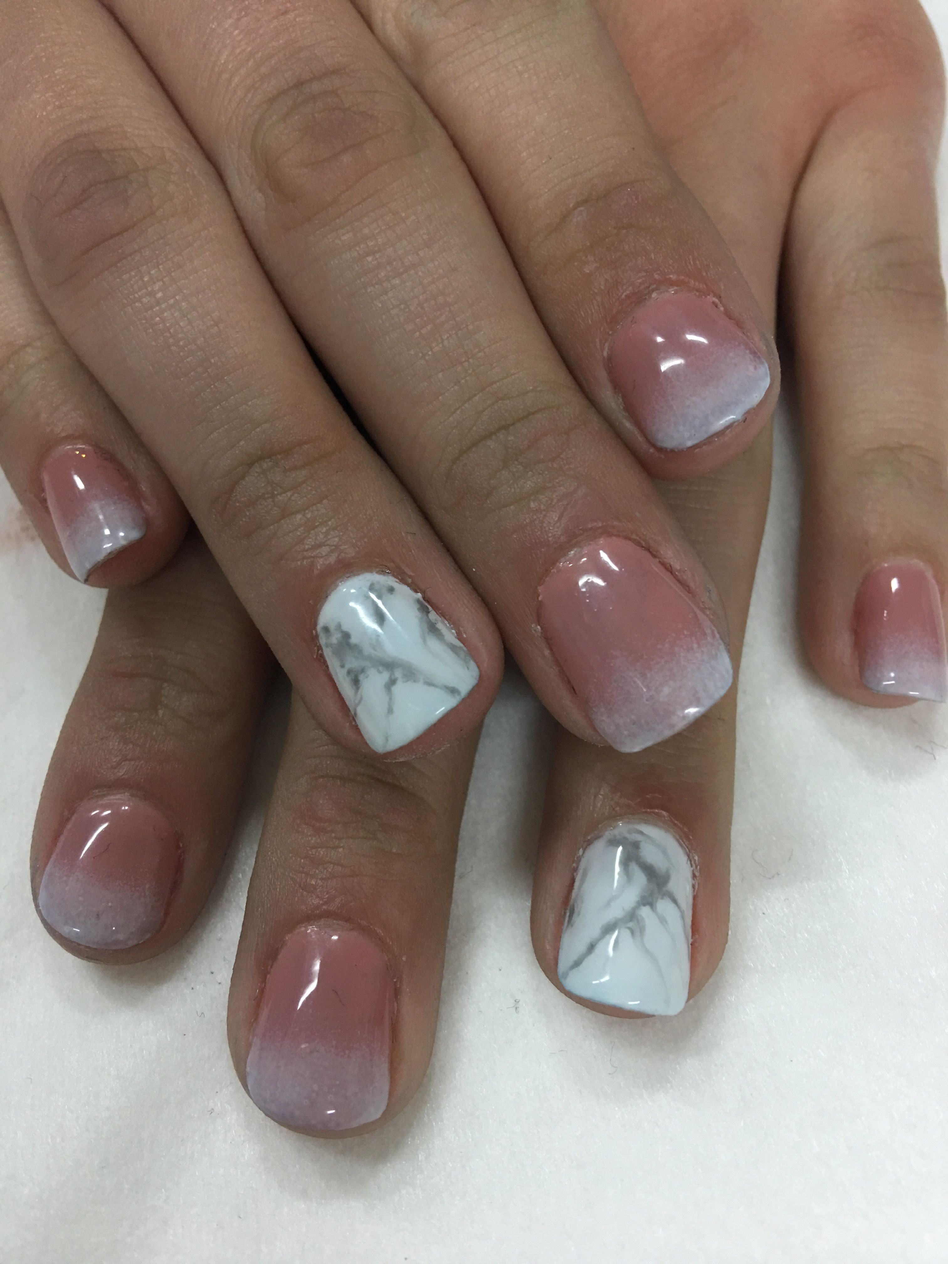 24 Luxury Gel Nails Natural Look Mauve Ombre French Marble Gel