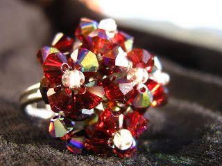anello con swarowsky rosso rubino