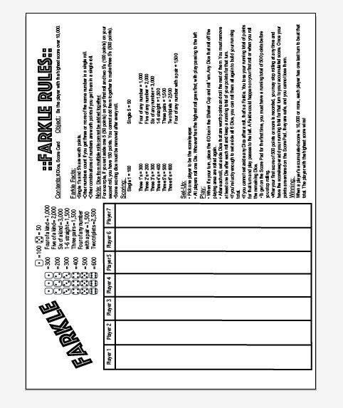 Jumbo X Farkle And Rules On One Page Instant Download File