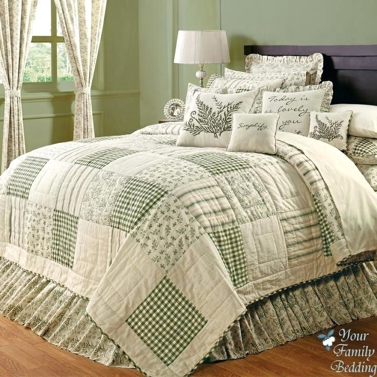 King Bed Quilts Country Green Ivory Fl Patchwork Twin Queen Cal Sized Quilt Bedding Set Ebay 154 Cover Comforter Sets