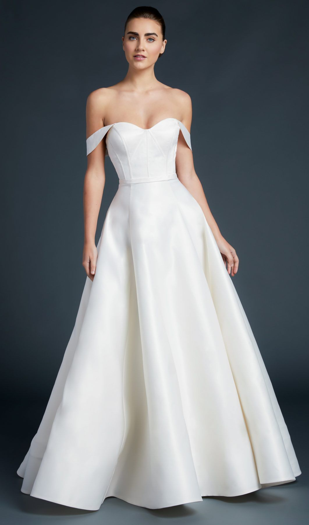 sweetheart neckline off the shoulder straps a-line wedding