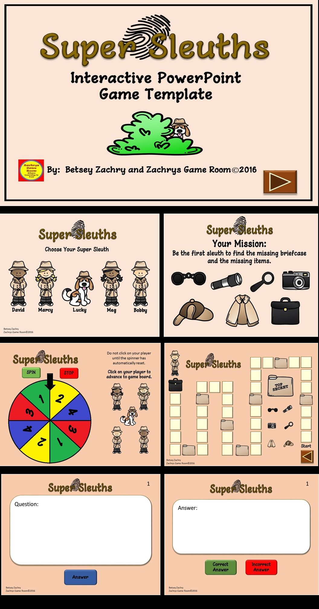 powerpoint game template super sleuth interactive game reading