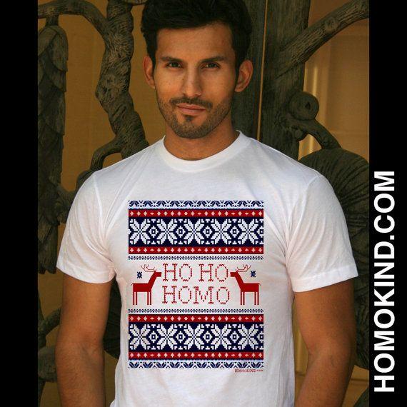 HO HO HOMO ugly sweater tee - gay lesbian lgbt equality christmas tee  t-shirt chanukah funny
