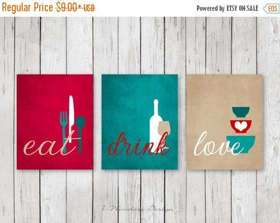 ON SALE Kitchen Wall Art Print Set Eat Drink Love Red
