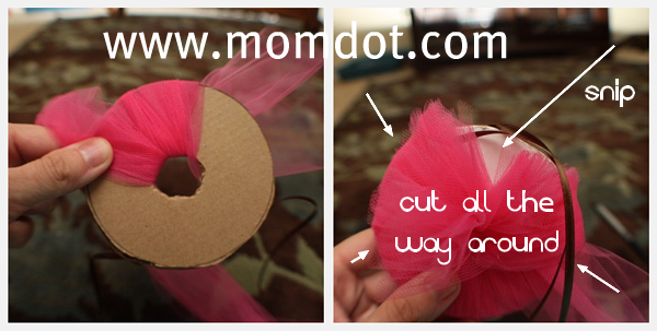 How to make a Tulle Pom Pom Ball DIY Tutorial   MomDot.com