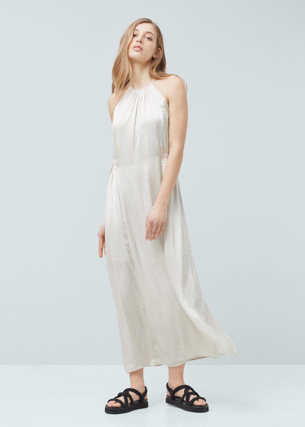 a91dea29c1 Vestido largo satinado - Mujer