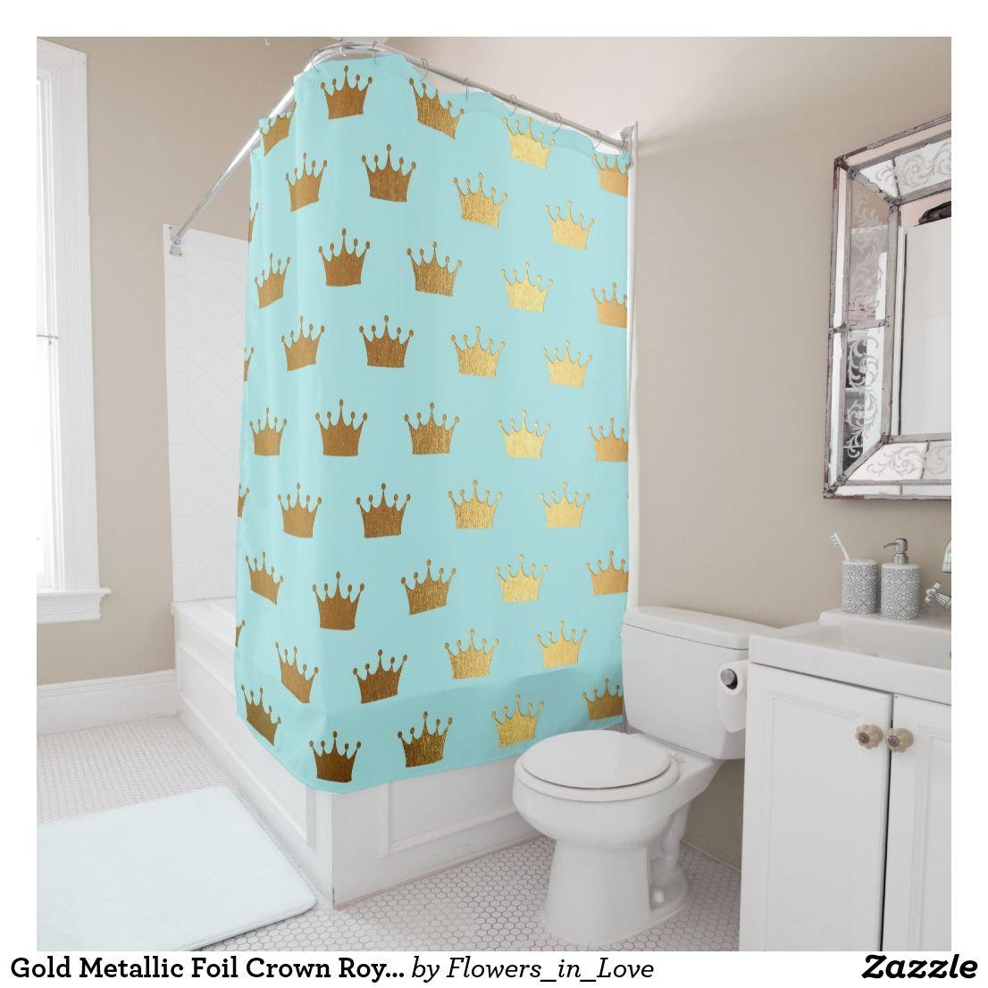 Gold Metallic Foil Crown Royal Teal Aqua Modern Shower Curtain ...