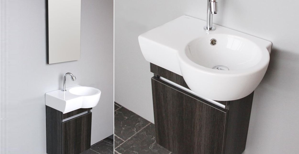 Toiletmeubel met opbergruimte wastafel en spiegel. aico van