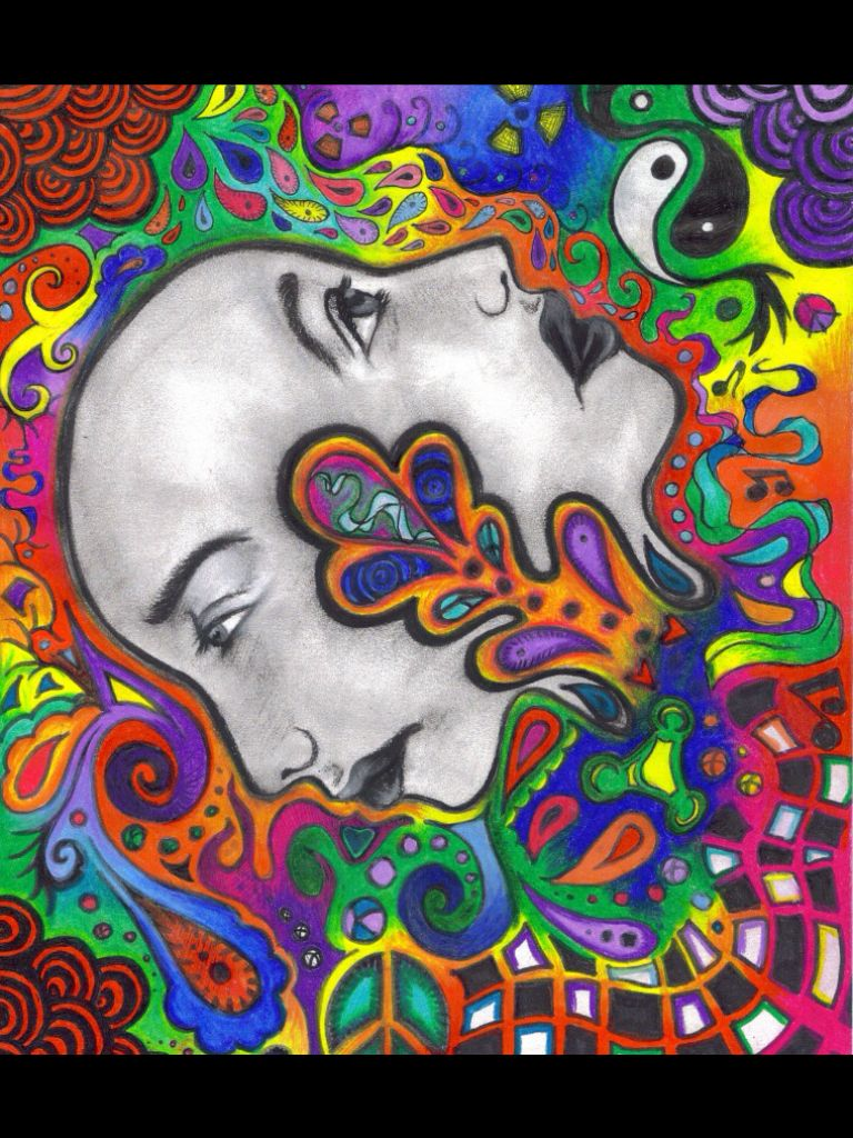 Abstract Art Two Faces Colorful Duality Of Man Art