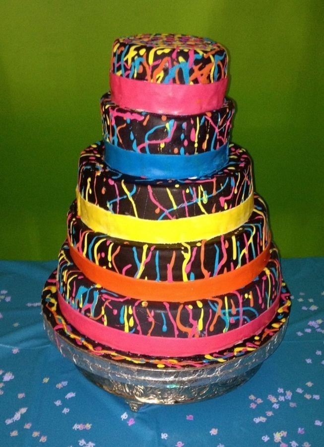 Black Birthday Cake Blacklight Neon Cake  Birthday Cakes - Neon birthday party cakes