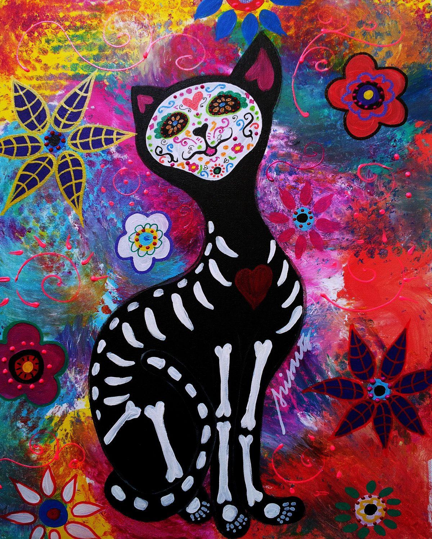 Mexican Day Of The Dead Folk Art El Gato Cat Meow Sugar Painting PRINT 4x6 2000 Via Etsy