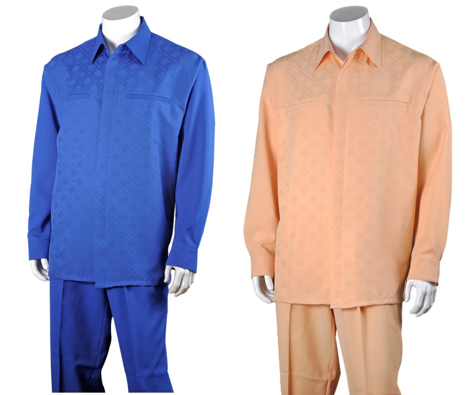 Design By Fortino Landi 2762 Men/'s 100/% Polyester Two Pieces Walking suit Check