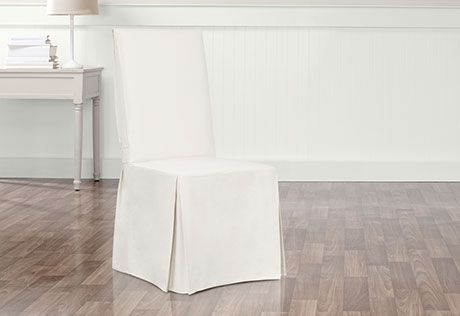 Photo Of Essential Twill Long Dining Chair Slipcovers With Scotchgard