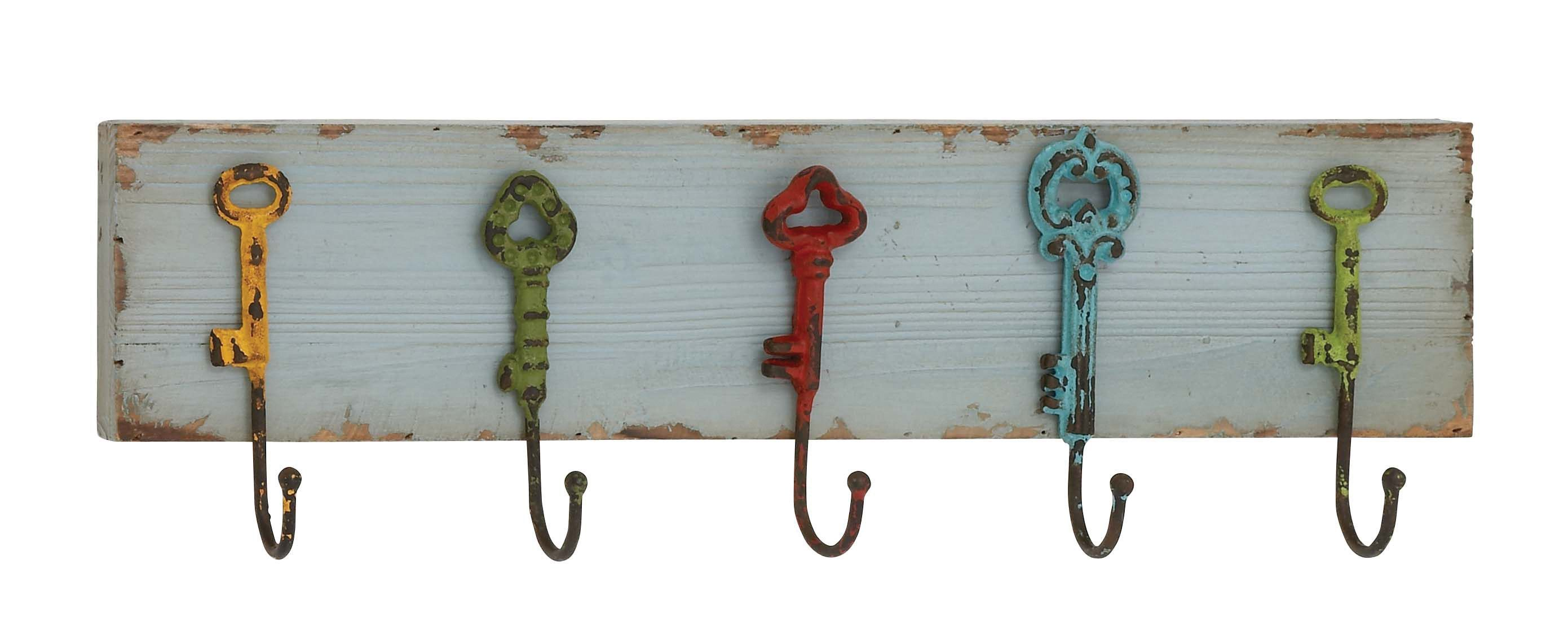 Captain Key Styled Wood Metal Wall Hooks