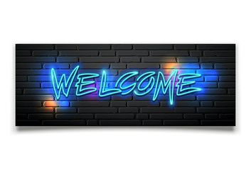 Neon light vector welcome message design on block wall black background illustration