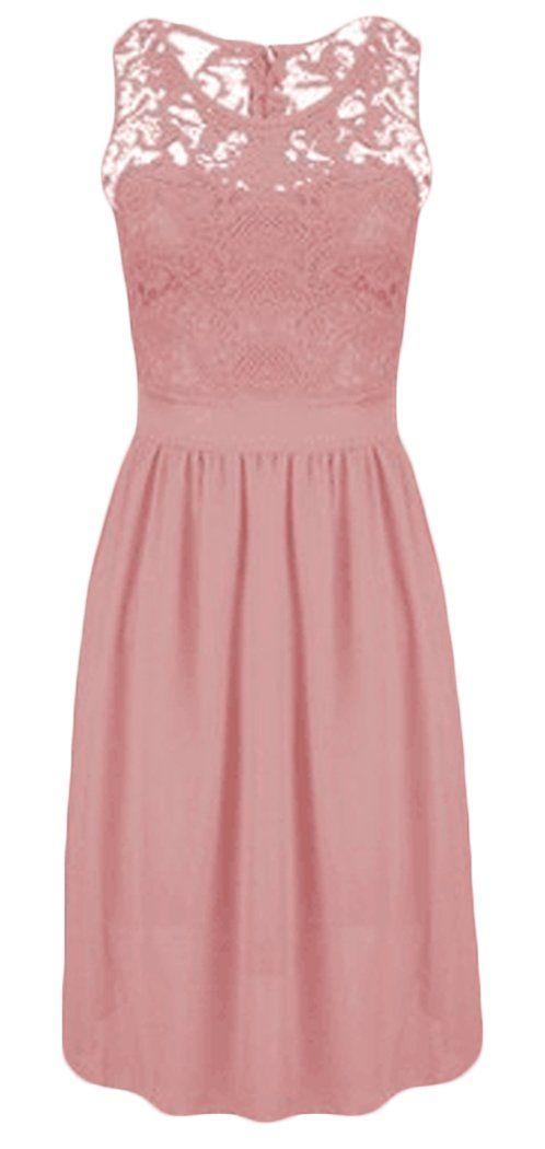 Damen Abendkleider Knielang Kurz Elegant rmellos Stitching ...