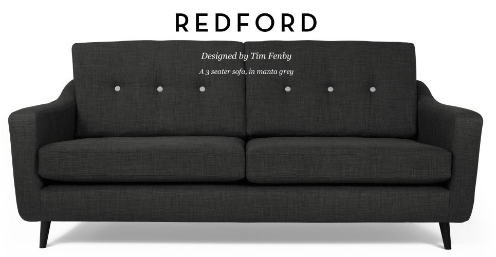 Redford 3 Seater Sofa in manta grey and contrast buttons ...