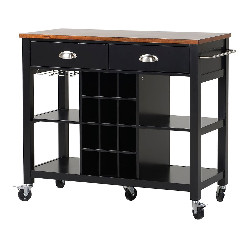 Mobile kitchen island  Wide Kitchen Island Cart in Black  Household Items I Want