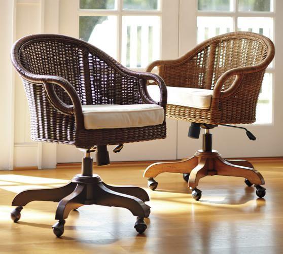 Wingate Rattan Swivel Desk Chair Swivel Chair Desk Home Office