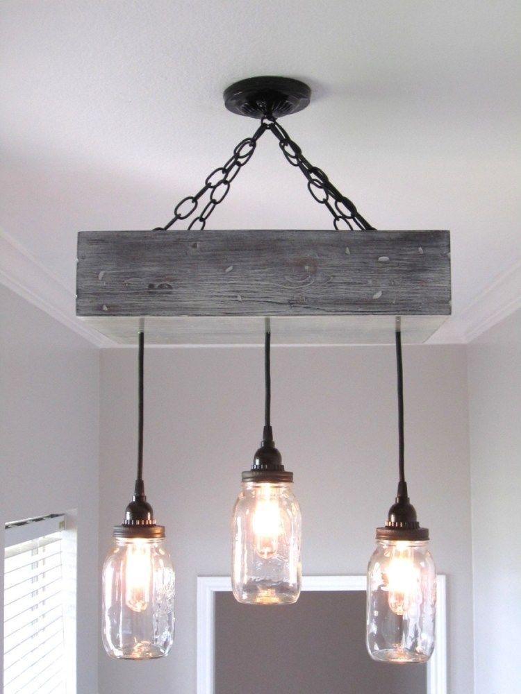 deckenlampe selber bauen ideen diy glasdosen haengend holz kiste kette wohnzimmer pinterest. Black Bedroom Furniture Sets. Home Design Ideas