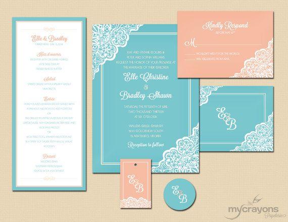 Turquoise And Coral Wedding Invitations: Retro Lace Daisy Wedding Invitation // DIY Printable