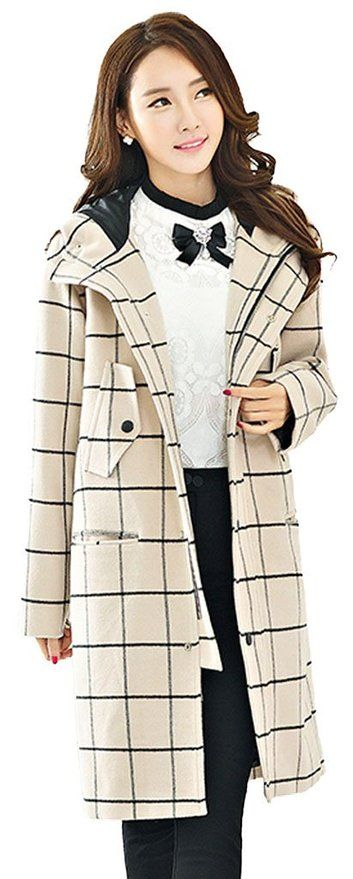 Searia Women Hot Lattice Plaid Grid Long Trench Winter Warm Hooded Coat Jacket Large
