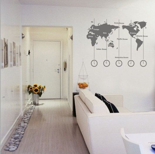 Removable vinyl world map wall decal time wall by customwalldecal removable vinyl world map wall decal time wall by customwalldecal gumiabroncs Choice Image