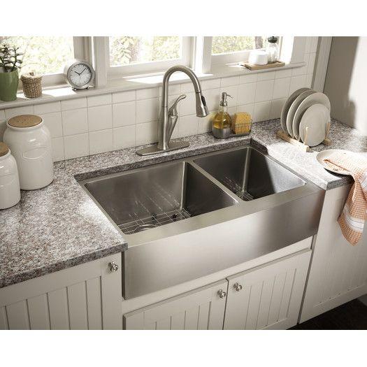 Schon Farmhouse 36 X 21 25 Double Bowl Kitchen Sink Apron Front Kitchen Sink Farmhouse Sink Kitchen Apron Sink Kitchen