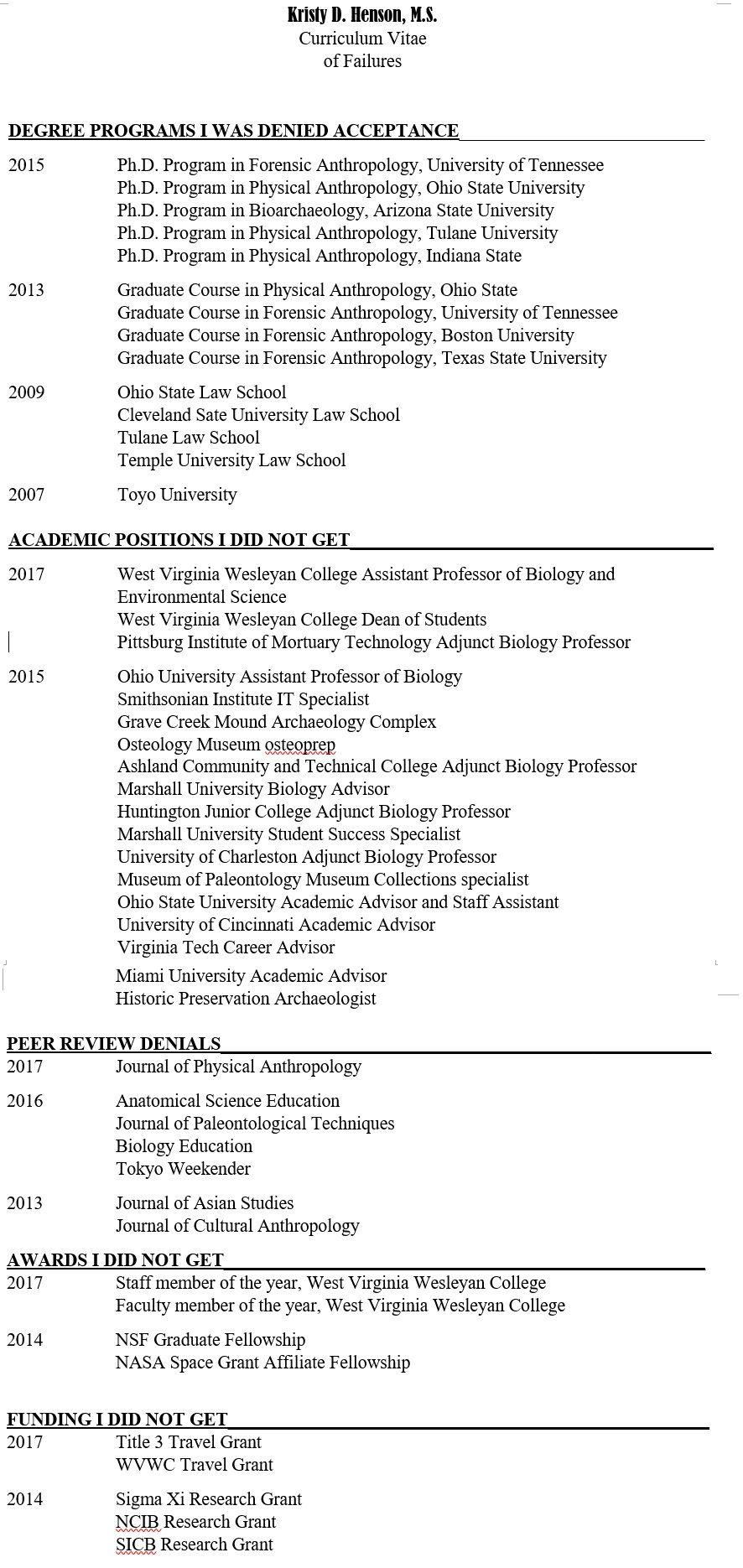 Cv of failures laidoff scientist in 2020 curriculum