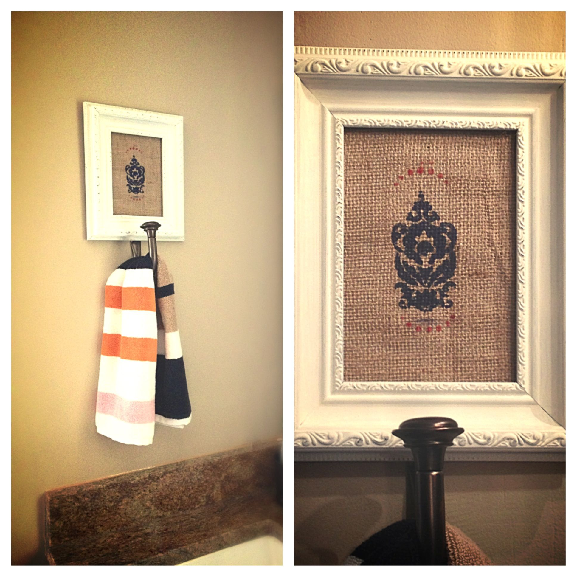 Decorative hand towel holder: I stamped a piece of burlap with a ...