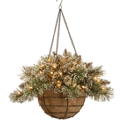 20 Bristle Pine Hanging Basket With Battery Operated Lights Timer Christmas Hanging Baskets Hanging Baskets Peonies And Hydrangeas