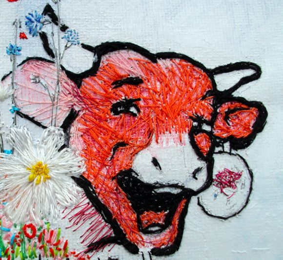 Hand stitched Laughing Cow logo. | Animal paintings, Embroidery art, Custom  pet portraits