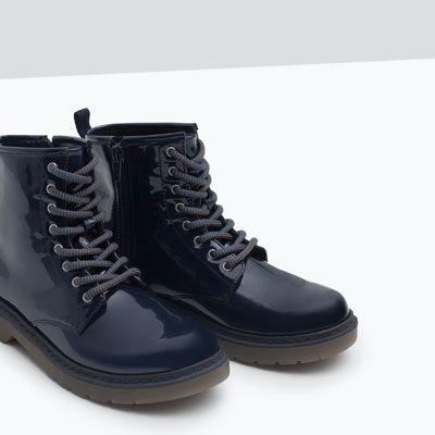 f74395c8ae978 Zdjęcie 7 LAKIEROWANE BOTKI SZNUROWANE z Zara | ALLEGRO | Boots ...