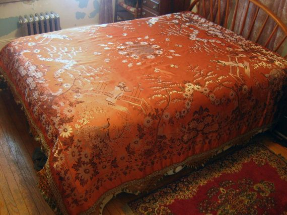 Image result for ORANGE BROCADE BEDSPREAD