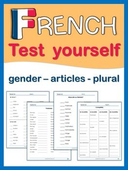 french test yourself gender articles plural idees pour mes cours french worksheets french. Black Bedroom Furniture Sets. Home Design Ideas