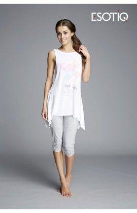 Pyjama Femme Pantalon court Pantaon court Model Kizzy 33127-00X Blanc /Gris Esotiq 43058