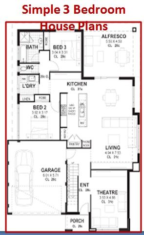 Simple 3 Bedroom House Plans With Garage Three Bedroom House Plan Bedroom House Plans Modern House Plans