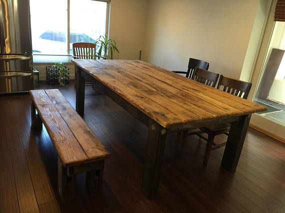 Rustic Farmhouse Table Set Large Farm House Cabin 8 Foot Kitchen