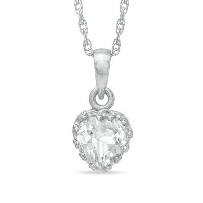 Zales 6.0mm Heart-Shaped Aquamarine and Lab-Created White Sapphire Heart Pendant in Sterling Silver P9pwz