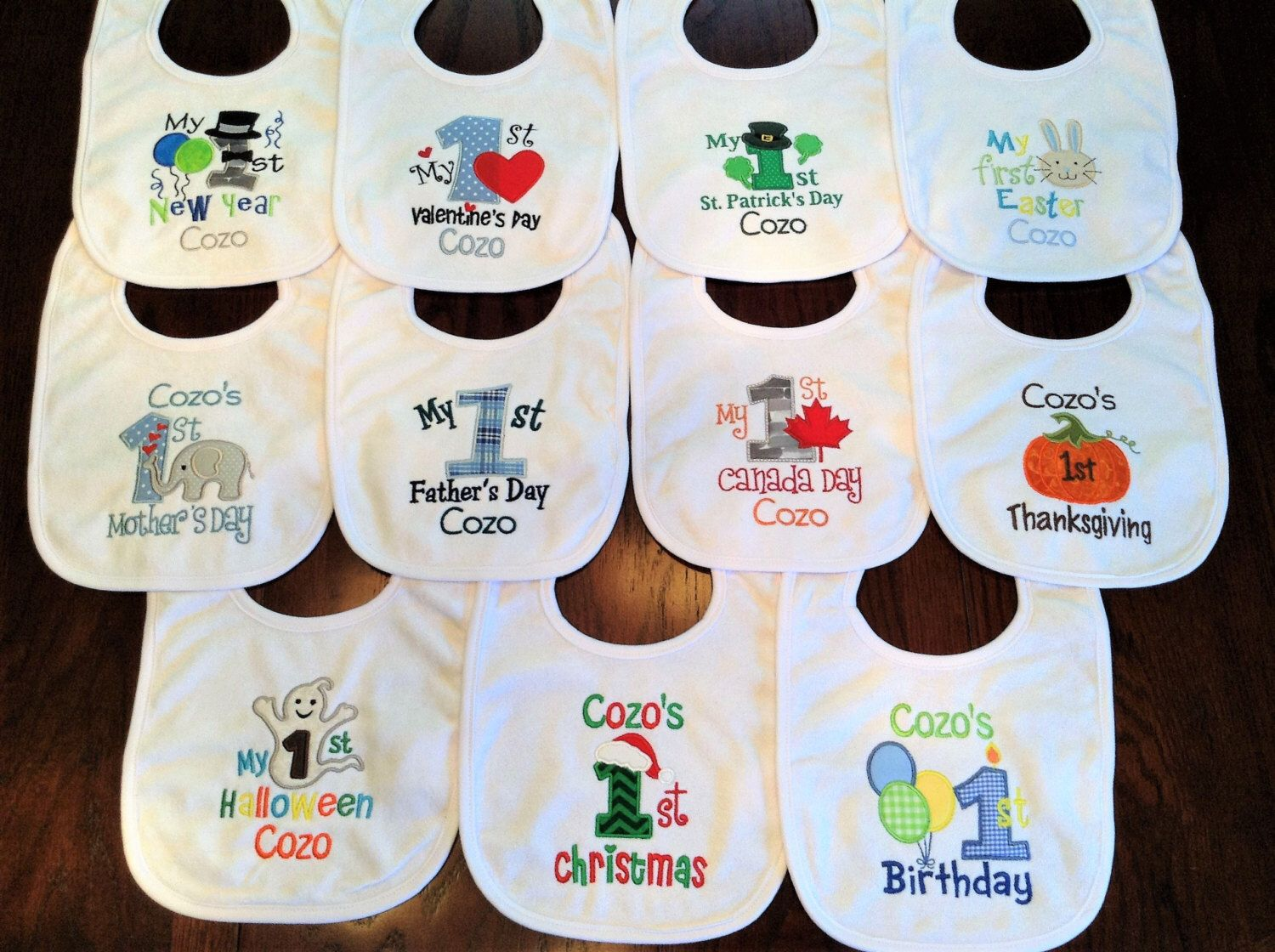 Hudson Baby Boy and Girl Festive Holiday Bibs 10-Pack 10 Holidays